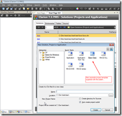 New solution dialog showing the example quick start