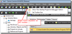 Right click on the Main Toolbar to bring up the context menu...